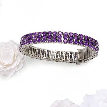 20.00 ct. t.w. Amethyst Multi-Row Tennis Bracelet, , default
