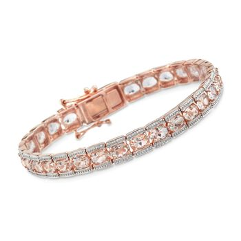 "11.00 ct. t.w. Morganite Tennis Bracelet in 14kt Rose Gold Over Sterling. 7.25"", , default"
