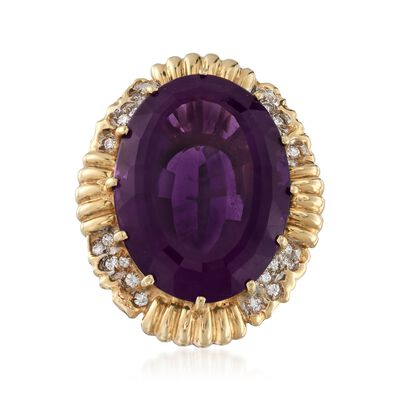 C. 1970 Vintage 21.40 Carat Amethyst and .30 ct. t.w. Diamond Ring in 14kt Yellow Gold, , default