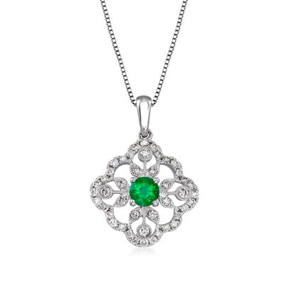 .20 Carat Emerald and .34 ct. t.w. Diamond Pendant Necklace in 14kt White Gold