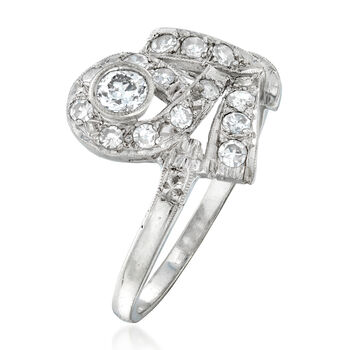 C. 1950 Vintage .70 ct. t.w. Diamond Cocktail Ring in 14kt White Gold. Size 7.5, , default