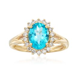 1.80 Carat Apatite and .33 ct. t.w. Diamond Ring in 18kt Yellow Gold, , default