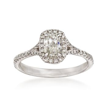 Henri Daussi .96 ct. t.w. Diamond Engagement Ring in 14kt White Gold, , default