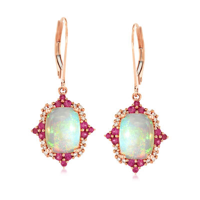 Opal, .40 ct. t.w. Ruby and .11 ct. t.w. Diamond Drop Earrings in 14kt Rose Gold