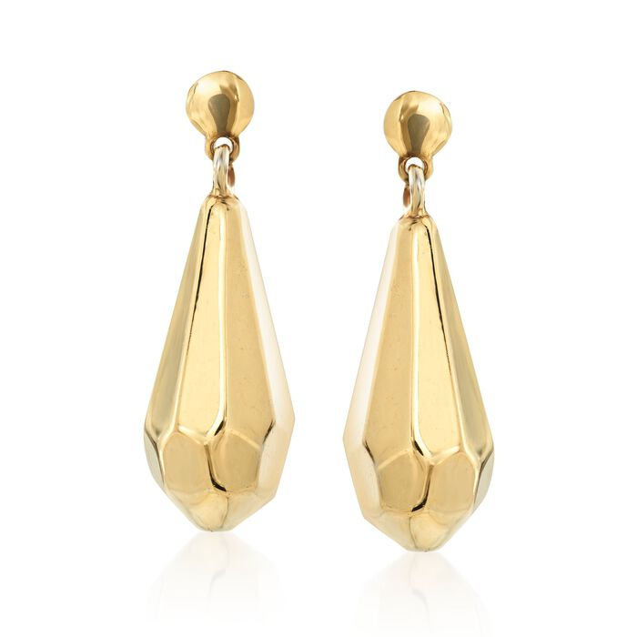 Italian 18kt Yellow Gold Over Sterling Faceted Drop Earrings