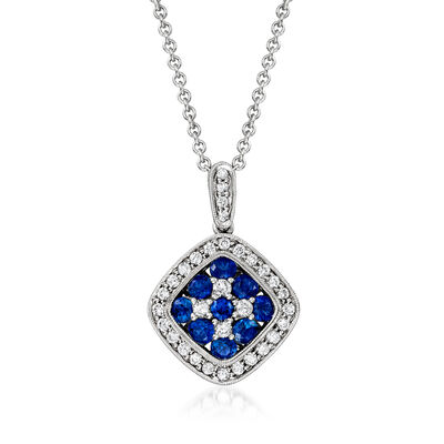 C. 2000 Vintage 1.15 ct. t.w. Sapphire and .50 ct. t.w. Diamond Pendant Necklace in 18kt White Gold