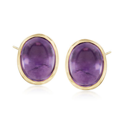 5.00 ct. t.w. Bezel-Set Amethyst Earrings in Sterling Silver and 14kt Yellow Gold, , default