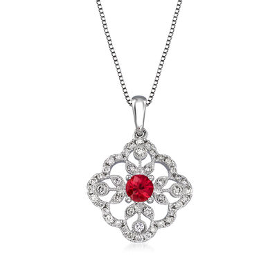 .20 Carat Ruby and .34 ct. t.w. Diamond Pendant Necklace in 14kt White Gold