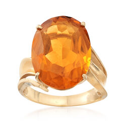 C. 1970 Vintage 9.90 ct. t.w. Citrine Ring in 14kt Yellow Gold, , default