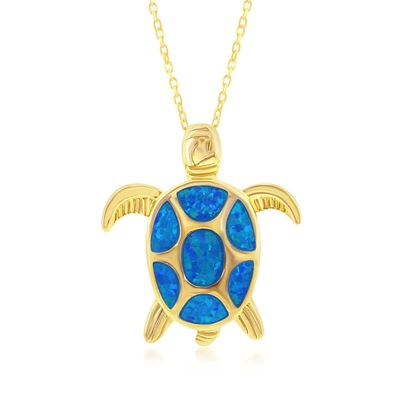 Blue Synthetic Opal Sea Turtle Pendant Necklace in 18kt Gold Over Sterling, , default