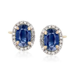 1.20 ct. t.w. Sapphire Stud Earrings With Diamond Accents in 14kt Yellow Gold, , default