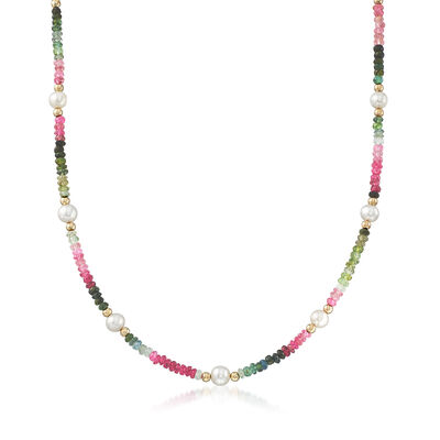 5.5-6.5mm Cultured Pearl and 29.00 ct. t.w. Multicolored Tourmaline Bead Necklace with 14kt Gold, , default