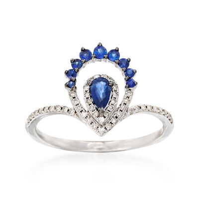 .30 ct. t.w. Sapphire and .14 ct. t.w. Diamond Ring in 14kt White Gold, , default