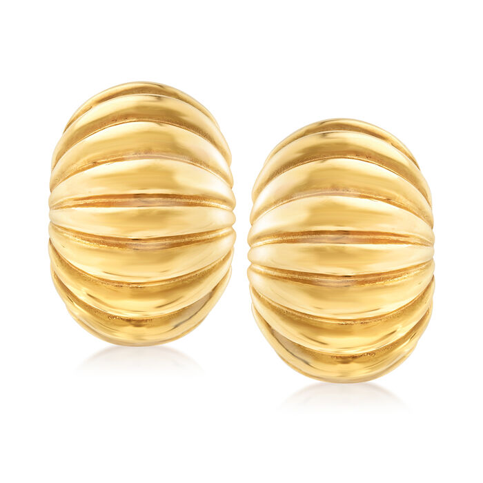Italian 14kt Yellow Gold Ribbed Clip-On Earrings
