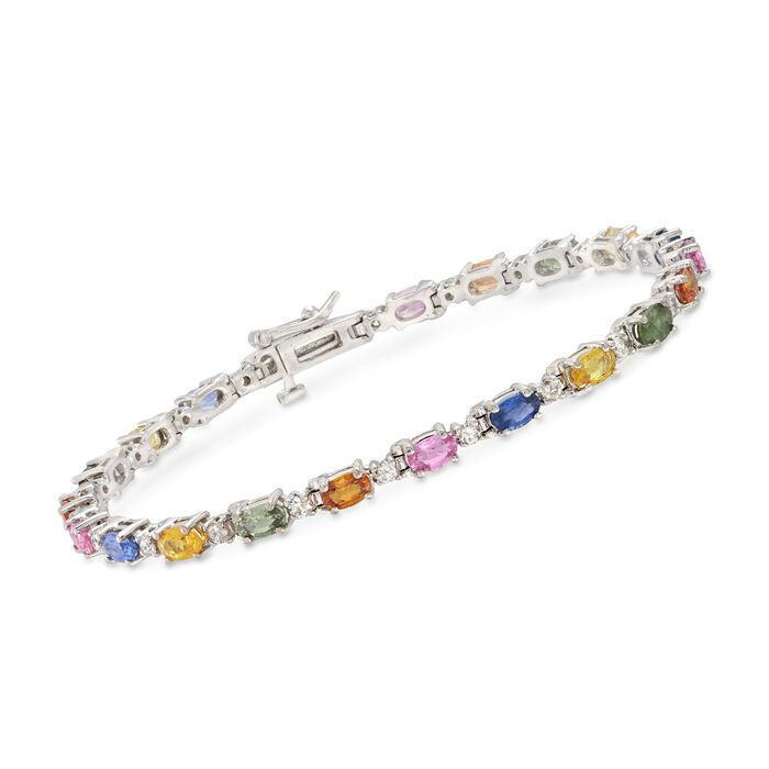 6.00 ct. t.w. Multicolored Sapphire and 1.00 ct. t.w. Diamond Tennis Bracelet in 14kt White Gold. 7""