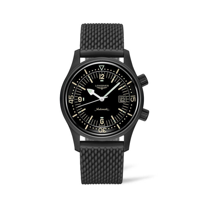 Longines Heritage Diver Men's 42mm Automatic Stainless Steel and Black PVD Watch with Black Rubber