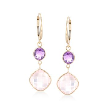 """Rose Quartz and 1.60 ct. t.w. Amethyst Drop Earrings in 14kt Yellow Gold. 1 1/2"""", , default"""