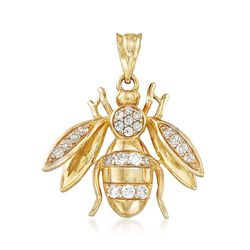 .39 ct. t.w. CZ Bee Pendant in 14kt Yellow Gold, , default