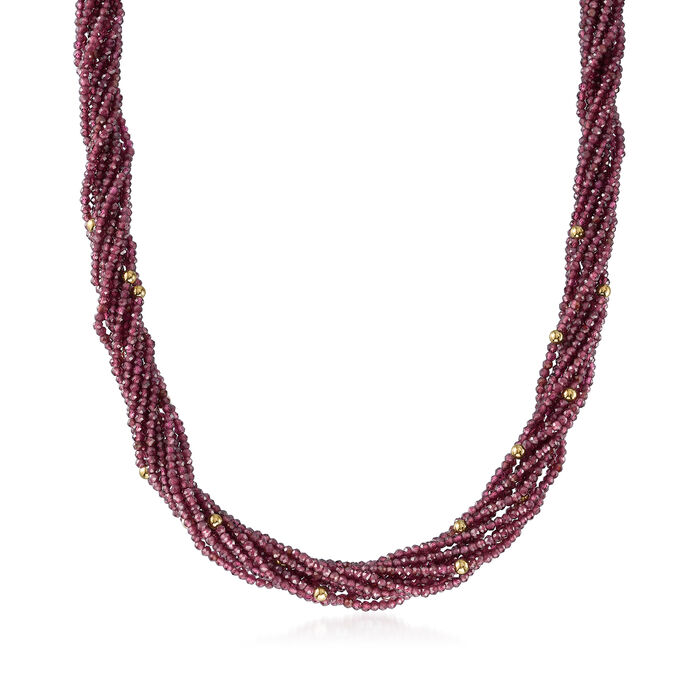 101.40 ct. t.w. Garnet Torsade Necklace with 14kt Yellow Gold