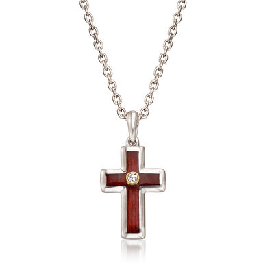 Sterling Silver and Wood Cross Pendant Necklace with 14kt Yellow Gold and Diamond Accents, , default