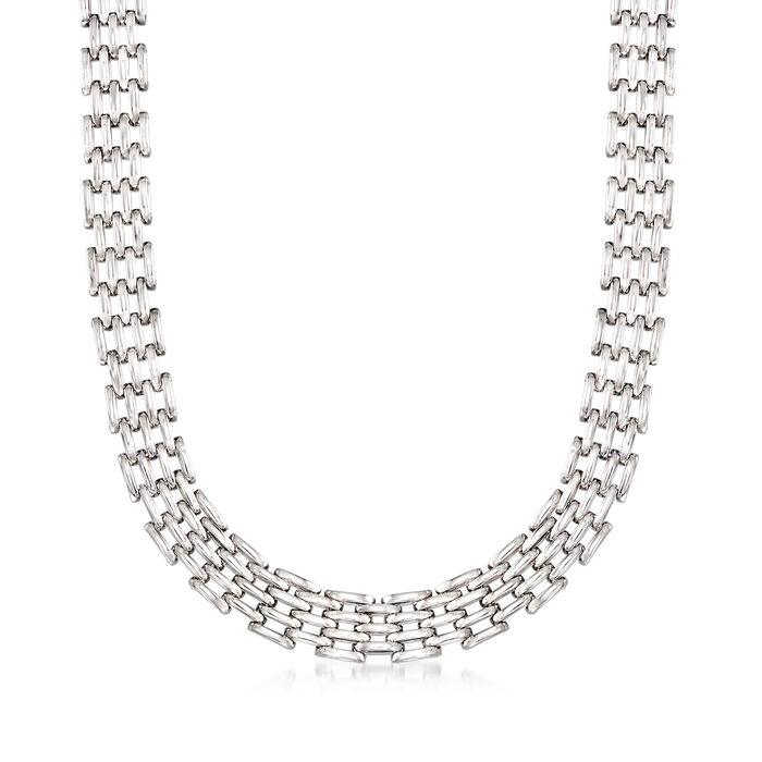 "Sterling Silver Multi-Row Oval-Link Necklace. 20"", , default"