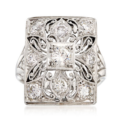 C. 1980 Vintage 1.30 ct. t.w. Diamond Filigree Ring in Platinum, , default