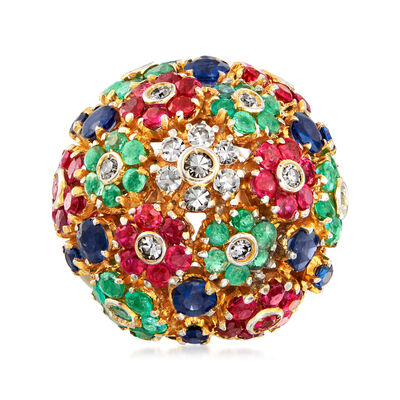C. 1980 Vintage 4.95 ct. t.w. Multi-Gemstone and .28 ct. t.w. Diamond Flower Ring in 18kt Two-Tone Gold, , default
