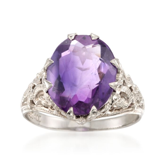 C. 1960 Vintage 3.50 Carat Amethyst Ring in 14kt White Gold. Size 4.5