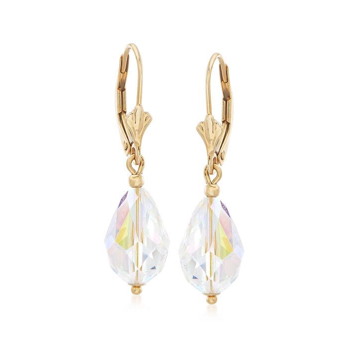 Swarovski Crystal Drop Earrings in 14kt Yellow Gold, , default