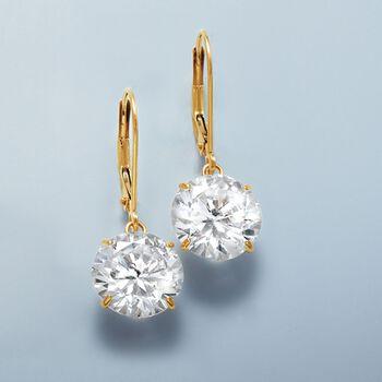 8.00 ct. t.w. CZ Drop Earrings in 14kt Yellow Gold , , default