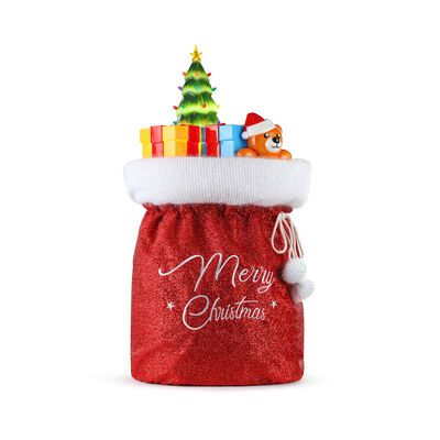 Mr. Christmas Outdoor Fabric Santa Bag with Blow Mold Toys