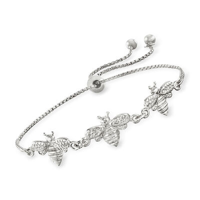 Italian Sterling Silver Bee Bolo Bracelet, , default