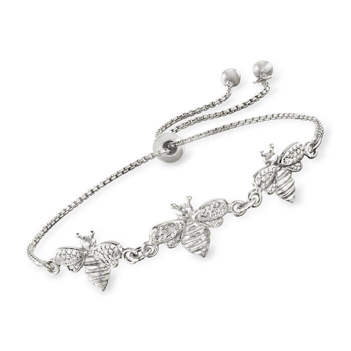 Italian Sterling Silver Bee Bolo Bracelet