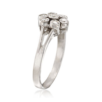 C. 1980 Vintage .35 ct. t.w. Diamond Floral Ring in 14kt White Gold. Size 7.5, , default