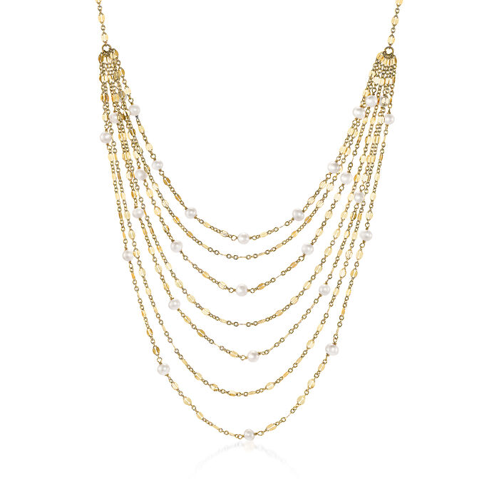 18kt Yellow Gold Over Sterling Waterfall Necklace with Cultured Pearls, , default