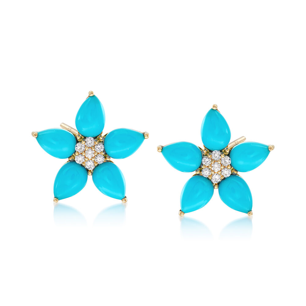 6x4mm Turquoise And 14 Ct T W Diamond Flower Earrings In 14kt Yellow Gold