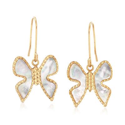 Italian Mother-Of-Pearl Butterfly Drop Earrings in 14kt Yellow Gold , , default
