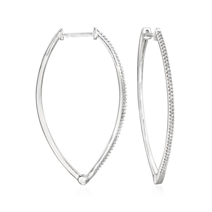".25 ct. t.w. Diamond Marquise-Shaped Hoop Earrings in Sterling Silver. 1 3/4"", , default"