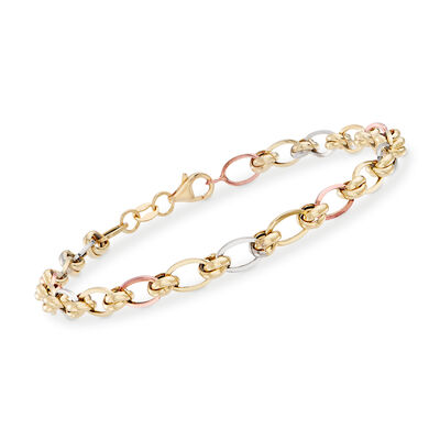 Italian Oval-Link Bracelet in Tri-Colored Gold, , default