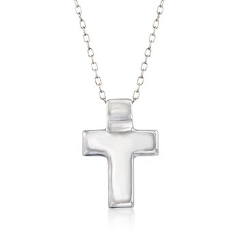 "Sterling Silver Cross Pendant Necklace. 18"", , default"