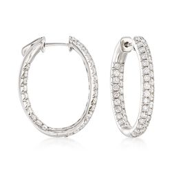 "2.00 ct. t.w. Diamond Inside-Outside Oval Hoop Earrings in 14kt White Gold. 7/8"", , default"