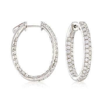 """2.00 ct. t.w. Diamond Inside-Outside Oval Hoop Earrings in 14kt White Gold. 7/8"""", , default"""