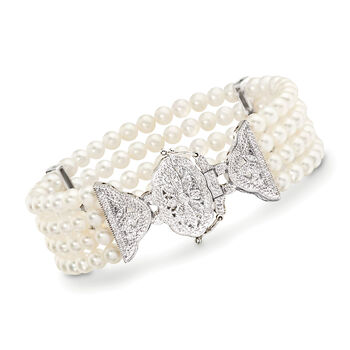 4.5-5mm Cultured Pearl and .15 ct. t.w. Diamond Multi-Strand Bracelet in Sterling Silver, , default