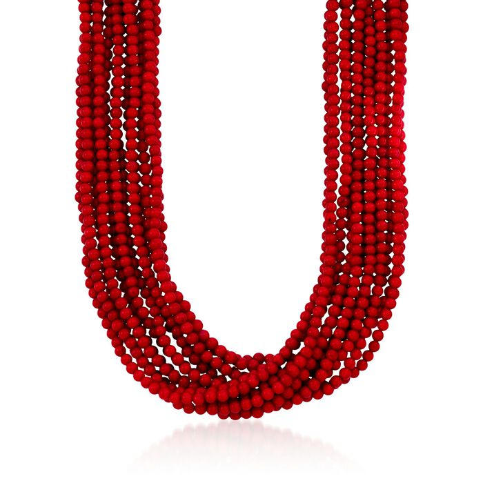 Multi-Strand Red Coral Bead Necklace in 18kt Gold Over Sterling Silver