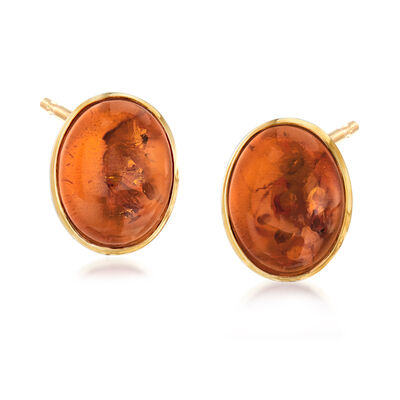 10x8mm Amber Stud Earrings in 14kt Yellow Gold, , default