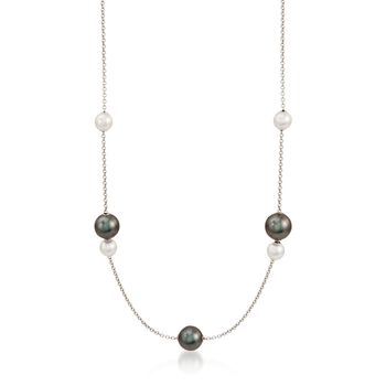 "Mikimoto ""Pearls in Motion"" 7-10mm A+ Akoya and Black South Sea Pearl Necklace in 18kt White Gold. 19"", , default"