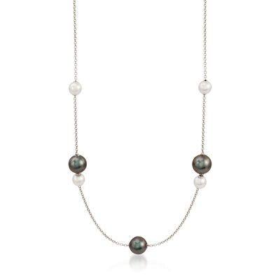 "Mikimoto ""Pearls in Motion"" 7-10mm A+ Akoya and Black South Sea Pearl Necklace in 18kt White Gold, , default"
