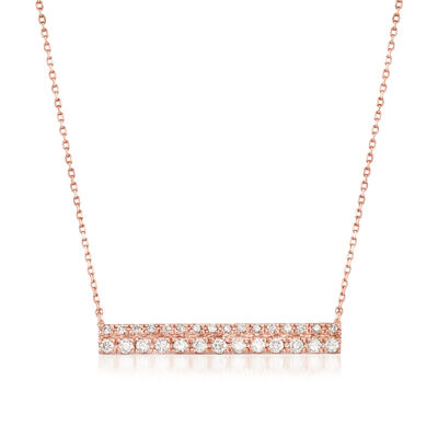.25 ct. t.w. Diamond Double-Row Bar Necklace in 14kt Rose Gold