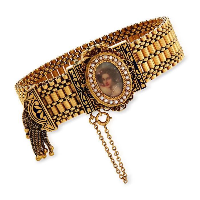 "C. 1930 Vintage Hamilton Tassel Bracelet with Hidden Watch in 14kt Yellow Gold. 6.5"", , default"