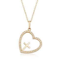 .20 ct. t.w. CZ Open-Space Heart With Cross Pendant Necklace in 14kt Yellow Gold, , default